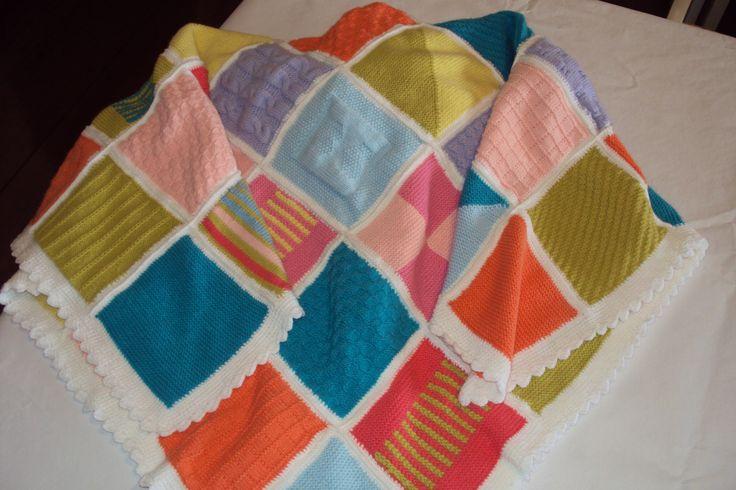 manta em patchwork de tricô para bebê