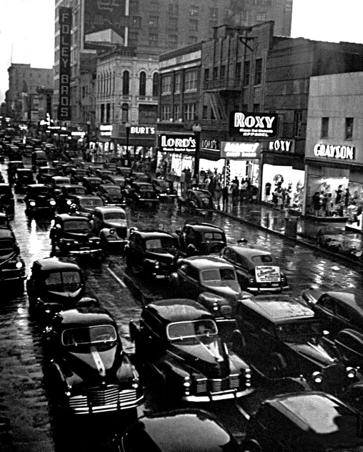 "onlyoldphotography: "" Dmitri Kessel: A view of Houston's traffic congestion. Houston, Texas, 1946 """