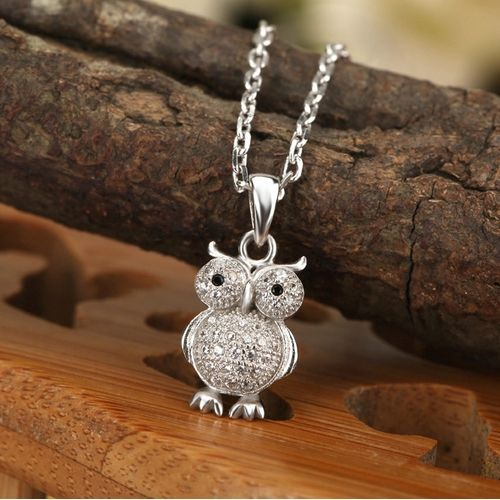 Owl Shape 925 Pure Silver Pendant Necklace (Silver)