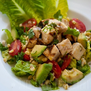 Grilled Swordfish Salad with Avocado, Corn and Romaine Lettuce