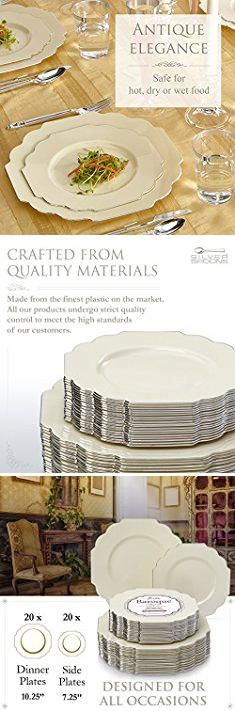 Baroque Plastic Plates. Baroque Collection Ivory Silver-Edged Dinner and Side Plates Wave Rim Design Disposable Dinnerware - Great for Formal Dinners, Weddings, and Holidays (Set of 40).  #baroque #plastic #plates #baroqueplastic #plasticplates