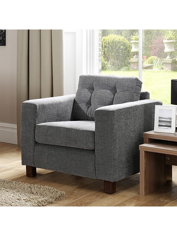 Tolmin Button Effect Arm Chair - Grey | Armchairs | ASDA direct