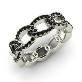 Round Black Diamond Ring in 14k White Gold