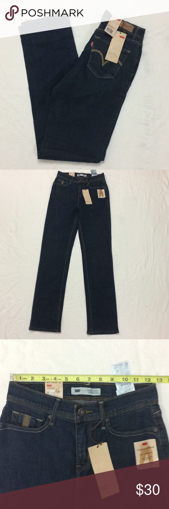 Levis 512 Slimming Stretch Straight Jeans 27x32 Tagged a size 4M and also 27 x 32. New. Cotton poly blend with some elastine (2%)  Inventory: 4 Levi's Jeans Straight Leg