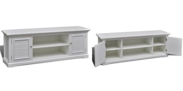 White Wooden Tv Unit Media Entertainment Console Stand Table Home Shelves Doors