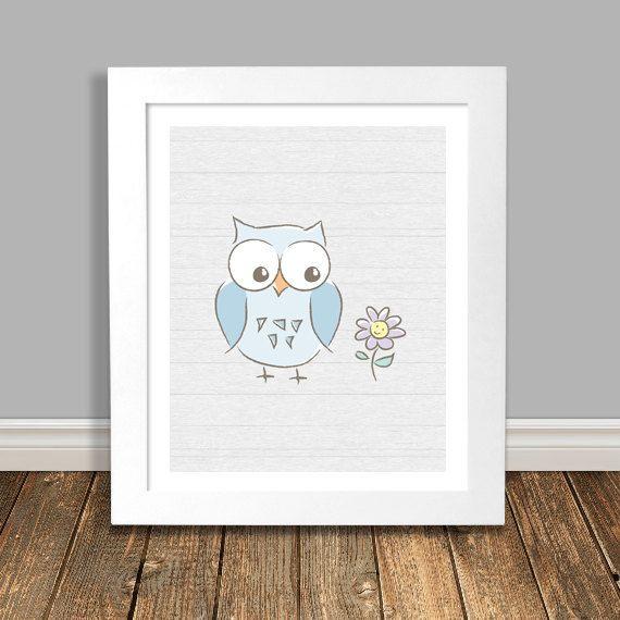New to HappyHippoArts on Etsy: Owl Nursery Art Print Baby Art Blue Owl with Flower Owl Kids Art Wall Art Kids Decor Modern Owl Art Owl Decor Wood Background - 5x7 (12.00 CAD)