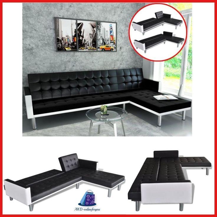 Futon Living Room L Shaped Sofa Bed Fold up Down ,Entertainment Furniture -Black #FESTNIGHT