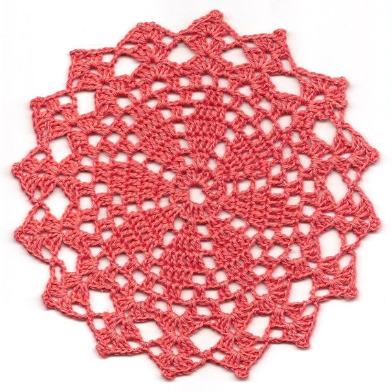 Hand crochet beautiful doily, made from peach crochet cotton. Diameter about 8 (20cm). Will be adorable decoration at your home, will look great on