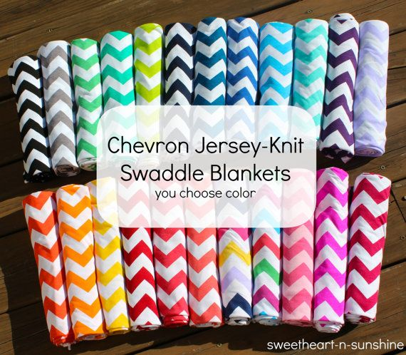 "Chevron Jersey Knit Light-Weight Swaddle/Receiving Blanket- Large 42""x42"" - YOU CHOOSE COLOR on Etsy, $15.00"