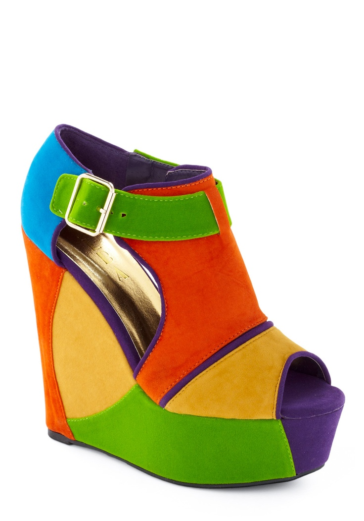omg...i probably would never wear these, but they are sooo bright, i love them (in a weird sort of way:)): Conquer Wedge, Wedge Shoes, Fashion Shoes, 49 99 Shoes, Colored Shoes, Girl, Colors, Colorful Shoes