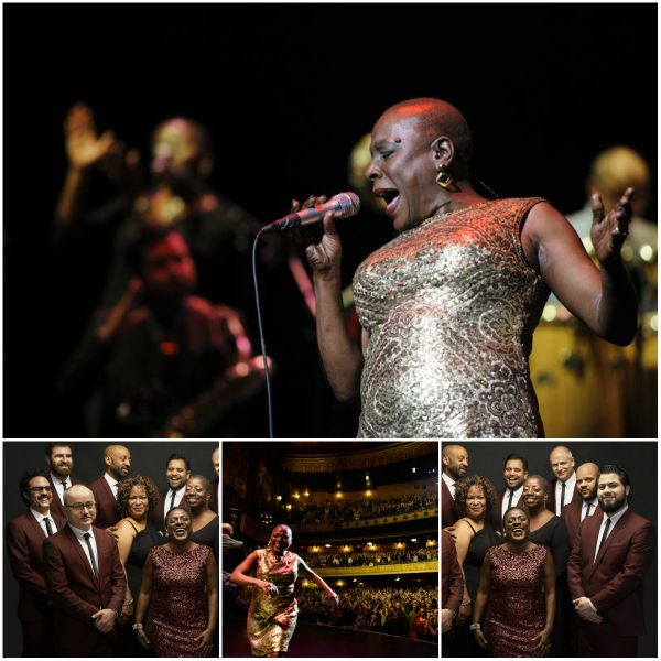 Miss Sharon Jones! – A Review - Collage of Sharon and the Dap Kings performing at the Beacon Theater NY. Credits: (Jacob Blickenstaff/Abramorama/Starz Digital) #film #documentary #sharonjones