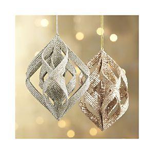 Glitter Ribbon Drop Ornaments