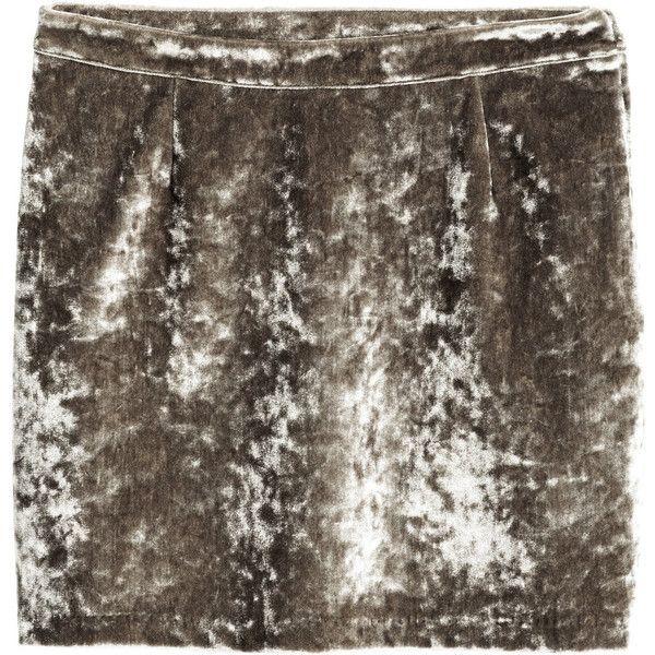 Velvet Skirt $34.99 (250 DKK) via Polyvore featuring skirts, brown skirt, brown velvet skirt, stretch skirts, stretchy skirt and velvet skirt