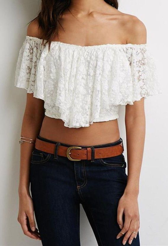 #street #style / off the shoulder crop top