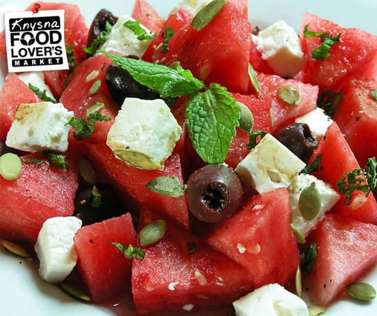 Combine the sweetness of the #watermelon with the saltiness of feta and olives in this unique SA flavour salad! Full Recipe - Click here: http://apost.link/2W0. #FLMKnysna #recipes