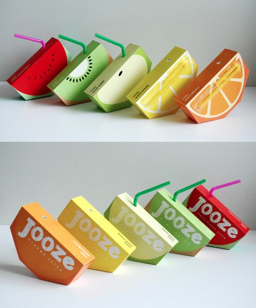 Jooze is a company that manufactures fresh fruit juices, catered especially to kids. This package is colorful (and the handwritten adds a kind of fun), efficient enough to be simple (an hexagonal designed slice of fruit), easy to understand for the customer, descriptive of the product and differenciative. It permits to gain instant recognition from the audience, to capture the customer's attention, especially if the product is placed next to other juices on the supermarket shelves.