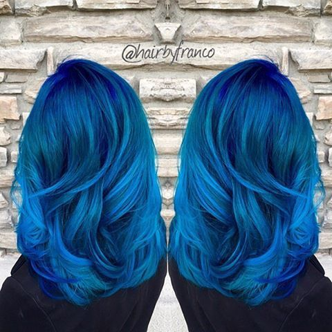 Gorgeous blue hair color design by @Hairbyfranco Hair painting Long Hair Wavy Hair www.hotonbeauty.com