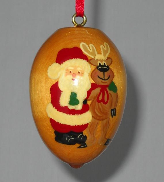 Christmas Ornament Santa Claus and Reindeer by TreeTreasuresCanada