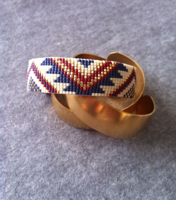 Beads woven bracelet by NeYvaShop on Etsy