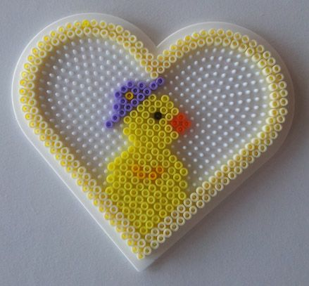 Chick in a heart hama perler beads