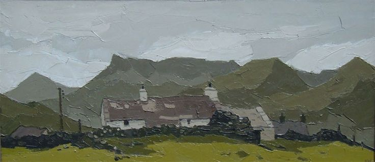 'Cottage Drws-y-Coed' Snowdonia, oil on canvas. Sir Kyffin Williams (1918 to 2006)