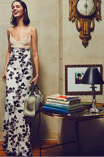 WATERCOLOR FLORAL SILK GOWN