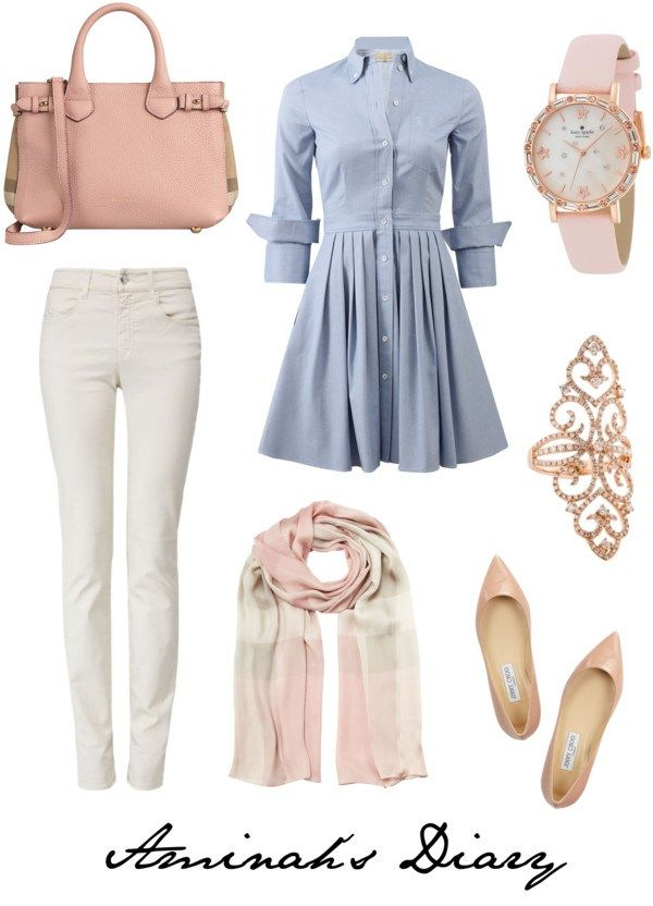 http://aminahshijabdiary.wordpress.com/ #hijab #fashion #style #outfit #look #ootd #shirtdress #jeans #flats #pink #blue #white #burberry