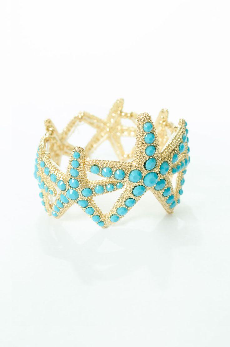 Make a statement at the beach with this starfish bangle. #starfish #starfishbracelet #beachjewelry #turquoise #beachy