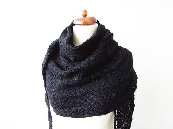 knitted black wrap with metallic yarn sparkle shawl glam  #knittedshawl #knittedwrap #blackscarf #blackshawl #glamour #sparklescarf #mertallic
