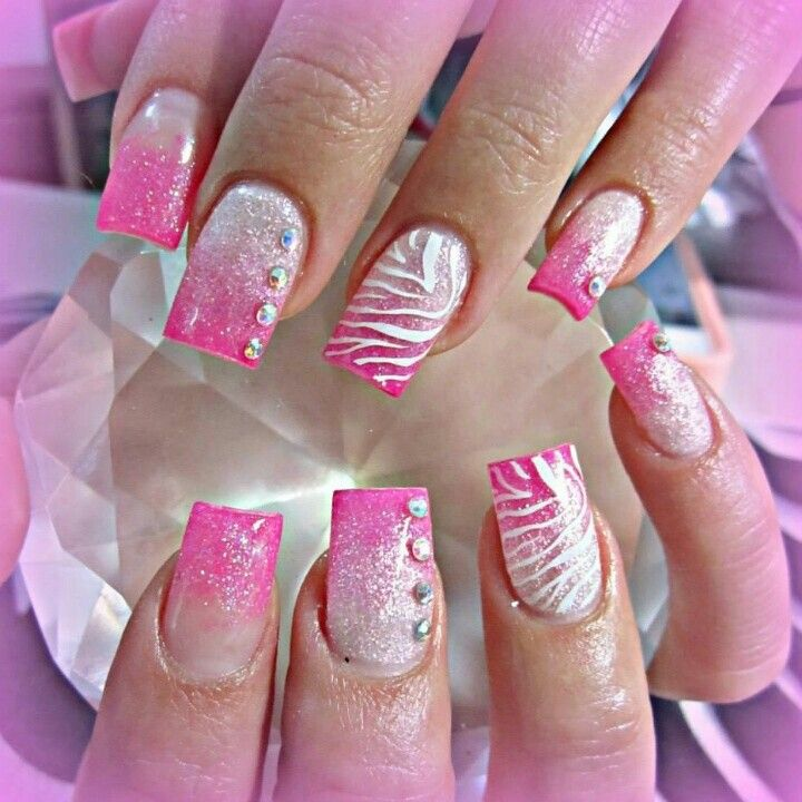 Girly Nail Art Designs: Girly Zebra Acrylic Nails