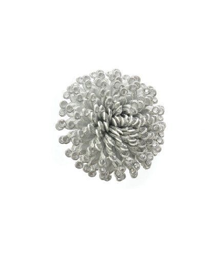 Silver Huge Pom-Pom Expandable Ring Laurel and Sunset. $5.80
