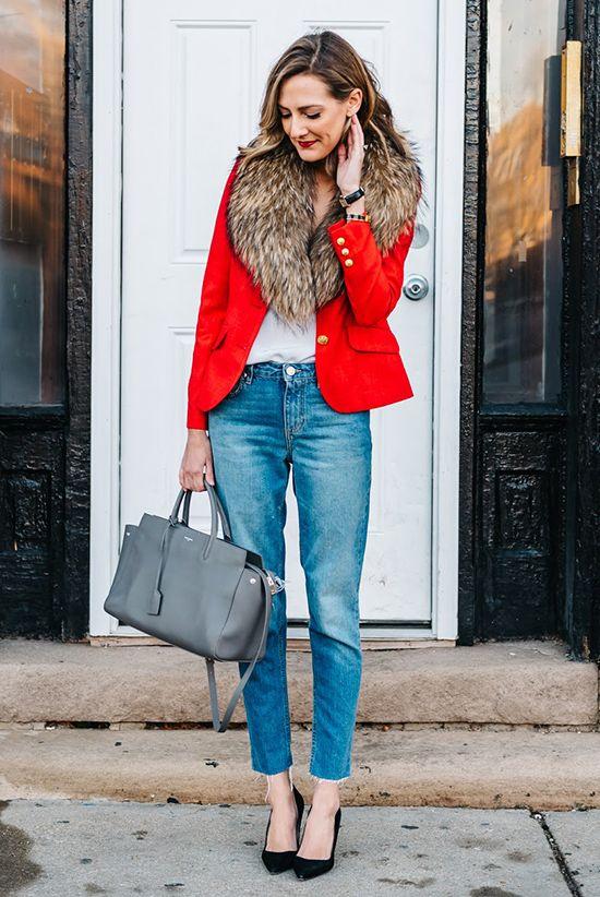 fall / winter - street chic style - street style - fall outfits - winter outfits - casual outfits - red blazer + brown fur stole + white cami top + crop jeans + black heels + grey handbag