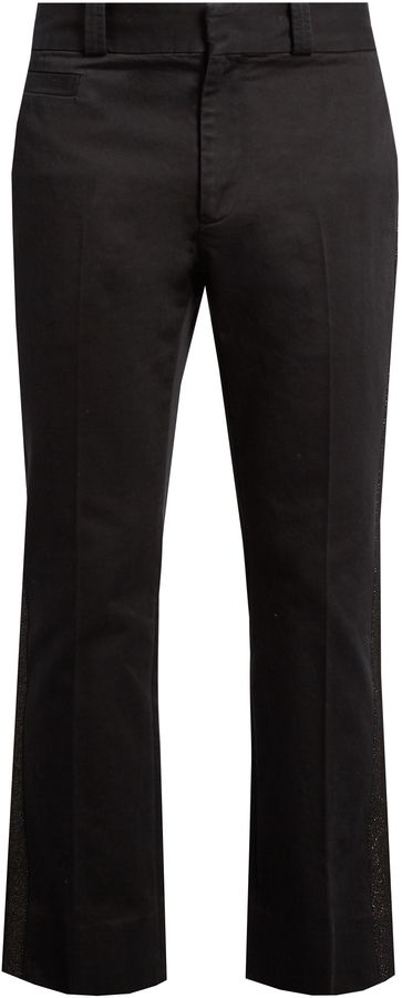 MARC JACOBS Metallic-stripe straight-leg cotton trousers