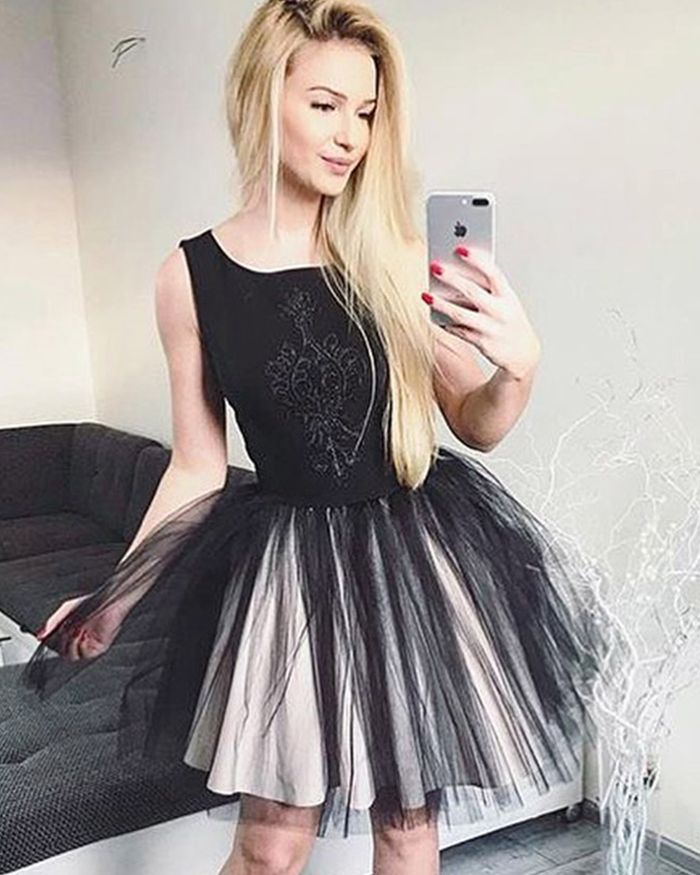1e3aaff17a Scoop Black Satin Homecoming Dress with Pleated Tulle Skirt HD3322 ...