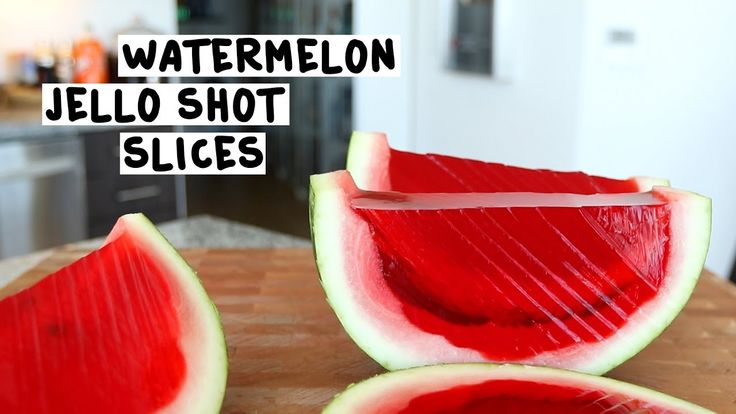 WATERMELON JELLO SHOT SLICES Large Watermelon 12 oz. (360ml) Red Jello 8 Packets Gelatin 4 Cups Hot Water 2 Cups Vodka 2 Cups Cherry Vodka PREPARATION 1. Cut large watermelon in half the long way and remove pulp. 2. In a container mix the red jello, the gelatin and the hot water. 3. Stir this mix until all the gelatin is dissolved. 4. Add the vodka to your mix. 5. Place watermelon in a bowl or pan to stabilize it. 6. Pour jello mix into your watermelon 7. Place in fridge for four hours to...