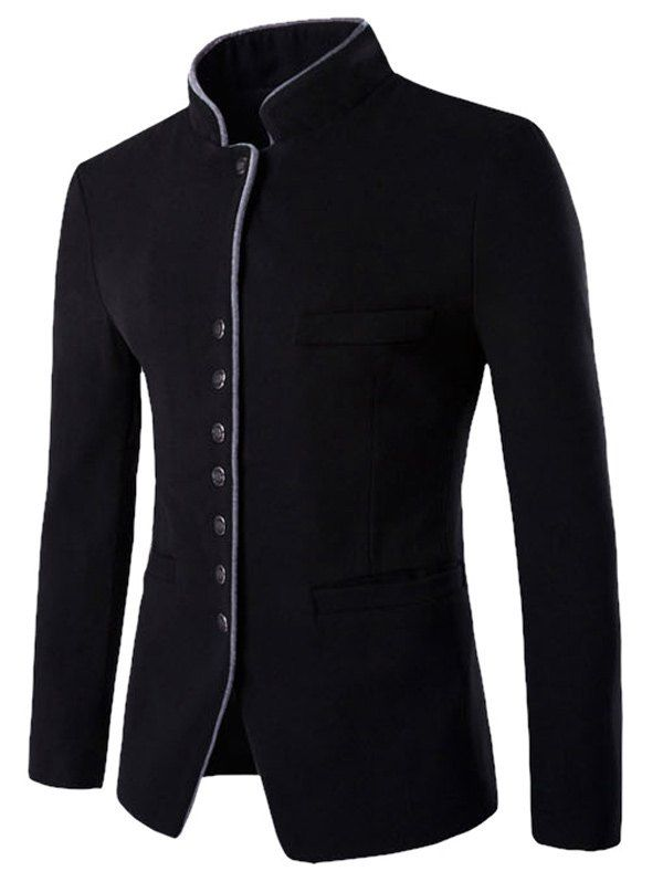 Stand Collar Single-Breasted Slimming Wool Blazer