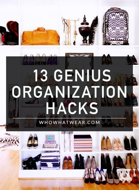 A roundup of the best #organization #hacks for cleaning up your closet--13 brilliant solutions that you'll wish you'd thought of first.