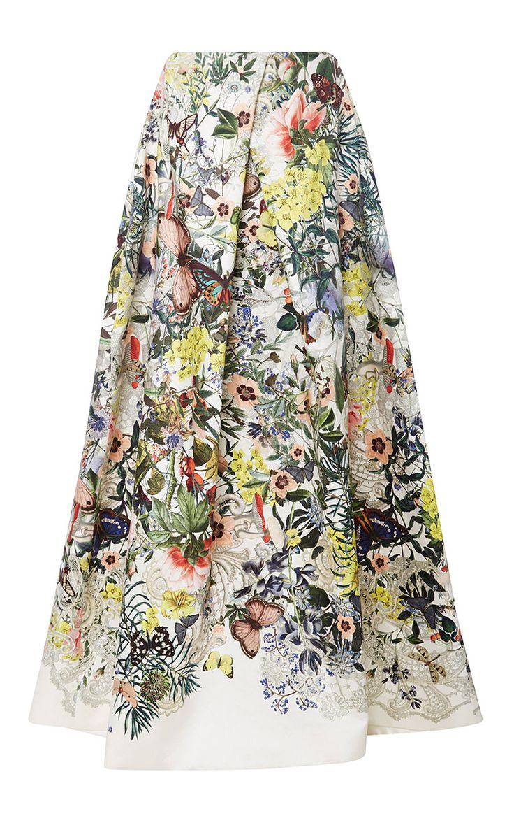 Floral Botanical Ball Skirt - Monique Lhuillier Resort 2016 - Preorder now on Moda Operandi