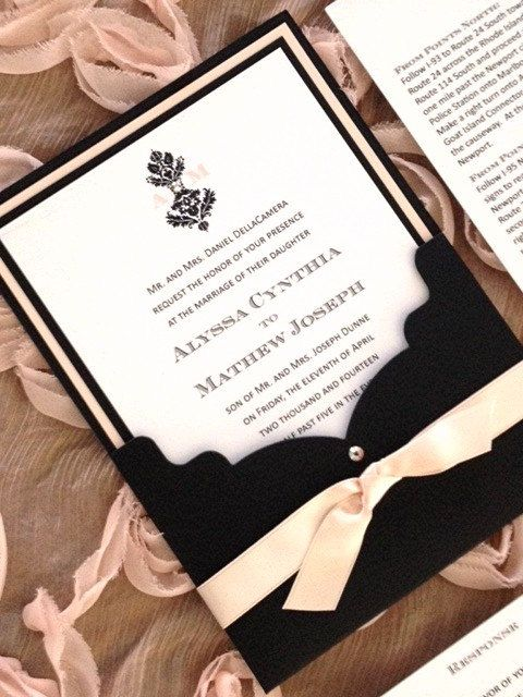 Wedding Invitation In Blush And Black With Damask Design Scalloped Edge Pocket Crystal Accent
