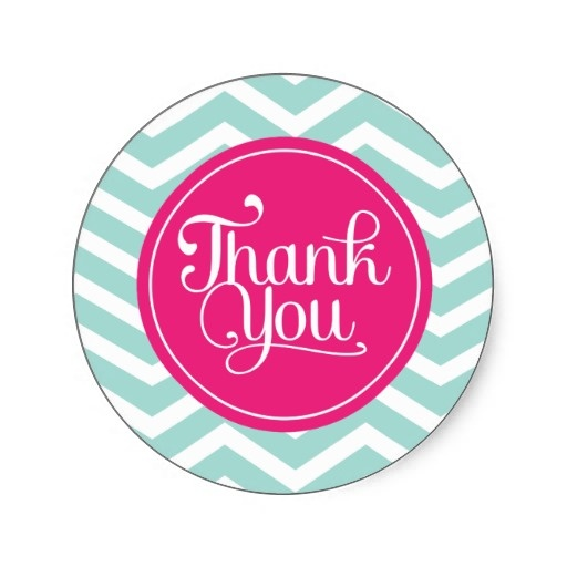Pink mint teal thank you chevrons classic round sticker