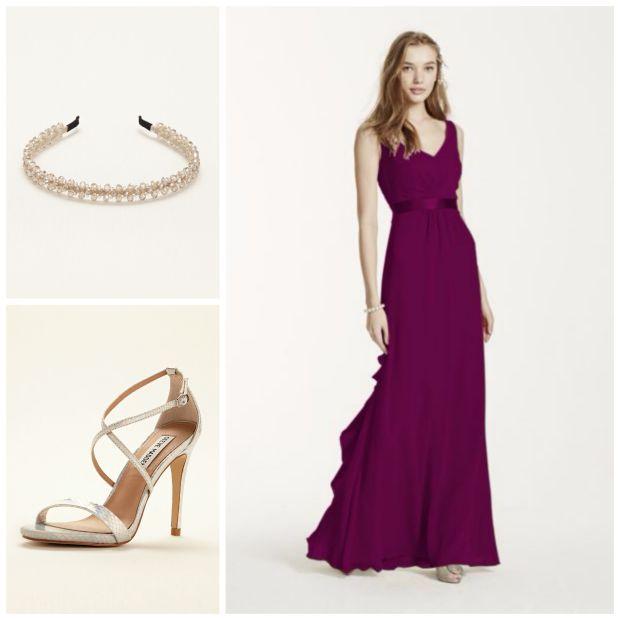 Bridesmaid in Sangria F15530, Headband H22490, Shoe Feliz || David's Bridal Busts Out A Big Ol' Heaping of Savings