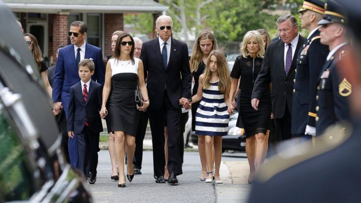 PHOTO: Vice President Joe Biden, center, and his family at the funeral service of his son, former Delaware Attorney General Beau Biden, June 6, 2015, at St. Anthony of Padua Roman Catholic Church in Wilmington, Del.