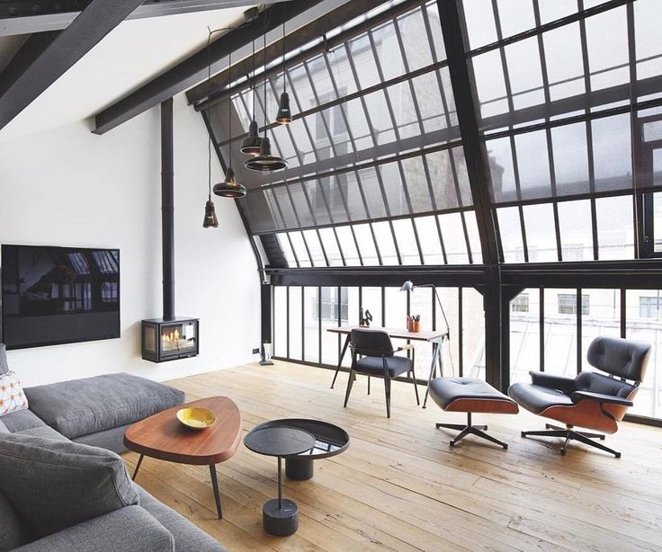 "Aidan Anderson (@thelocalproject) on Instagram: ""Industrial Penthouse Loft ~ Matte-black steel window frames, natural light & an Eames Chair is…"""