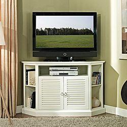 52 in. White Wood Corner TV Stand