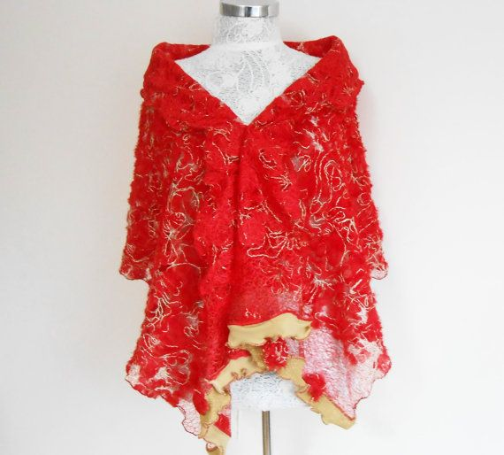 Red Shawl Red Lace Shawl Red Christmas Scarves by Nazcolleccolors