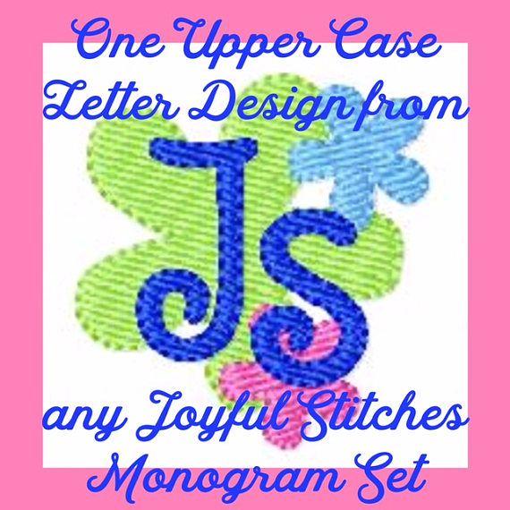 One Upper Case Letter Monogram Machine Embroidery Design File