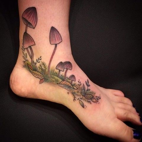 my little mushrooms! By Jessie Coccia at Valkyrie Tattoo in Penngrove, CA