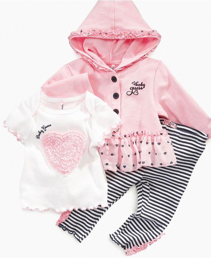 GUESS Baby Set, Baby Girls Layette Hoodie, T-shirt and Legging Set - Kids - Macy's