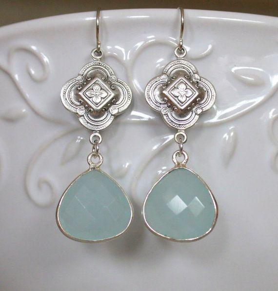 Earrings Aqua blue Chalcedony Drops in Sterling Silver by NHjewel, $56.00