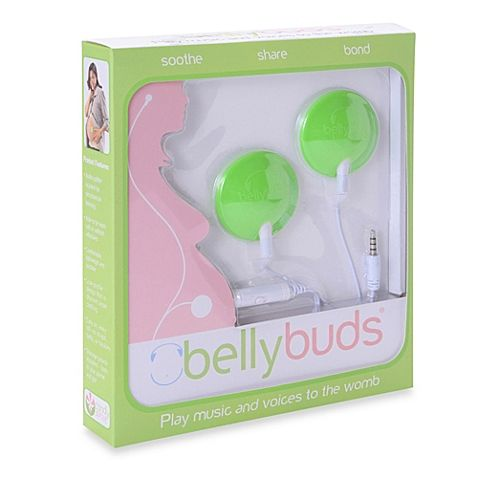Bellybuds® is a sound system with custom speakers that gently adhere to the belly and safely play music, soothing sounds, or even loving voice messages directly to the womb.